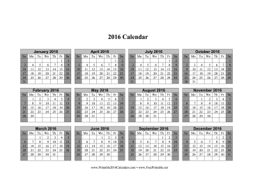 2016 Calendar on one page (horizontal, shaded weekends) Calendar