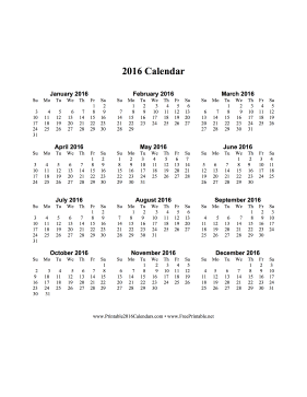 Printable 2016 Calendar on one page (vertical)