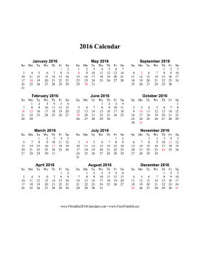 2016 Calendar (vertical, descending, holidays in red) Calendar