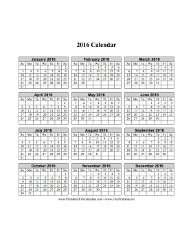 2016 Calendar on one page (vertical grid) Calendar