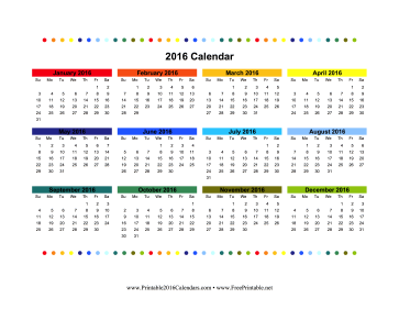 2016 Colorful Calendar Calendar