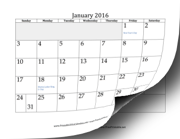 2016 Calendar with days of adjacent months in gray Calendar