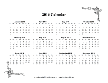 Printable 2016 One Page Calendar With Flowers