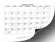 2016 Calendar with Checkboxes calendar